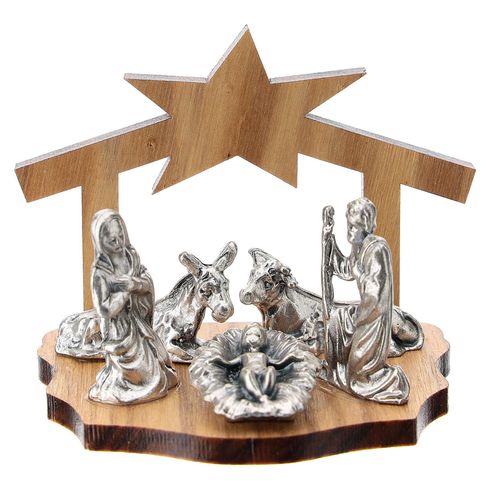 Nativité métal et grotte stylisée bois olivier 5 cm 3