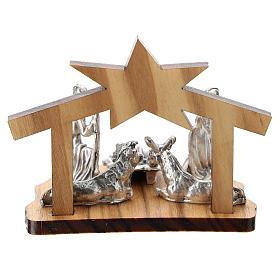Nativité métal et grotte stylisée bois olivier 5 cm s3