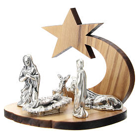 Nativity in metal with olive wood star 5 cm s2