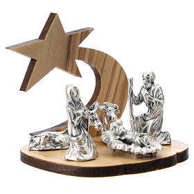 Nativity in metal with olive wood star 5 cm s3