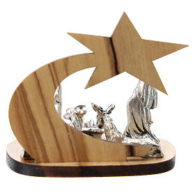 Nativity in metal with olive wood star 5 cm s4