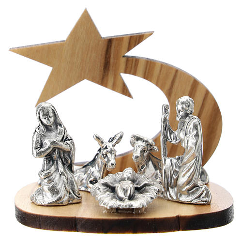 Nativity in metal with olive wood star 5 cm 1