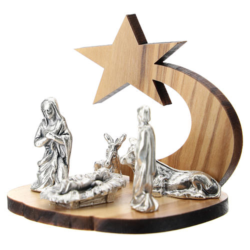 Nativity in metal with olive wood star 5 cm 2