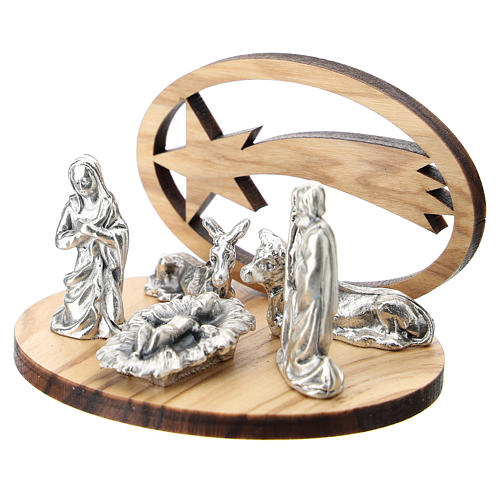 Nativity in metal with wood star 5 cm 2