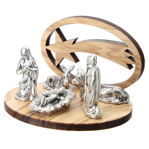 Natividad metal con cometa olivo estilizada 5 cm 2
