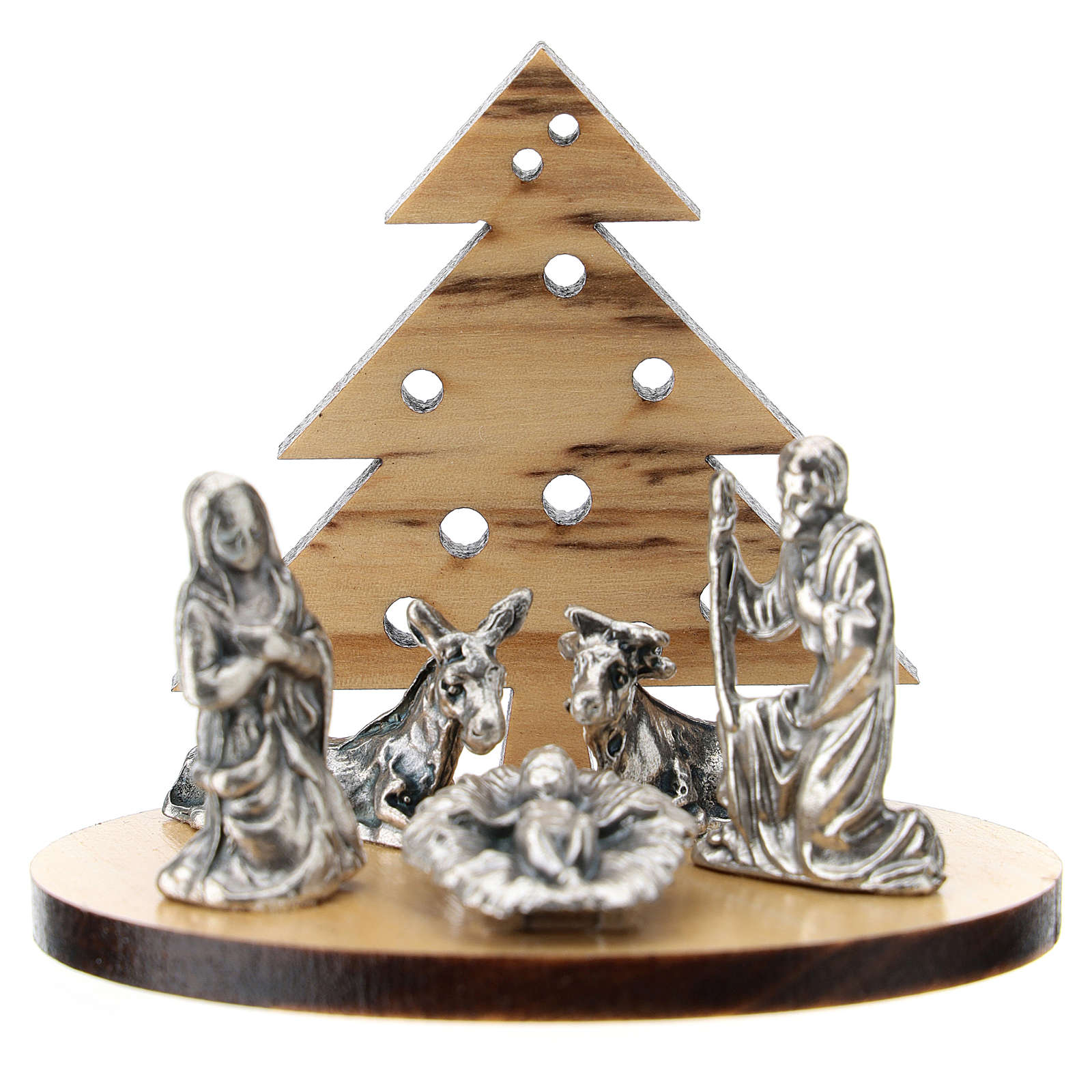 Nativity in metal with wood tree 5 cm 3