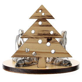 Nativity in metal with wood tree 5 cm s3
