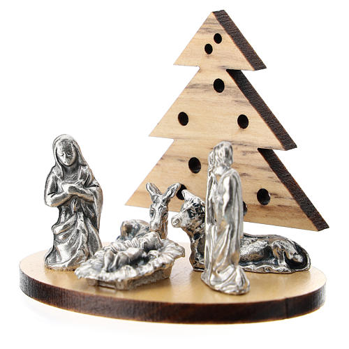 Nativity in metal with wood tree 5 cm 2
