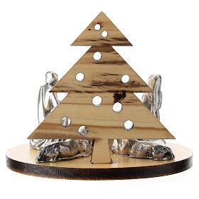 Nativité métal avec sapin en bois d'olivier 5 cm s3