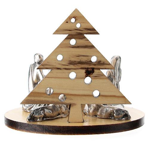 Nativité métal avec sapin en bois d'olivier 5 cm 3