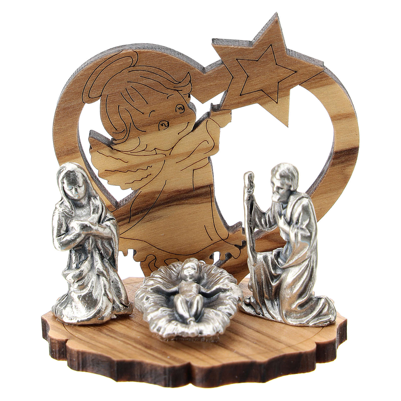 Nativity in metal with wood angel and star 5 cm 3