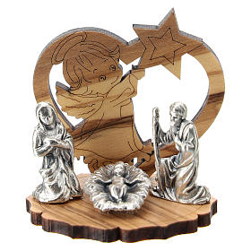 Nativity in metal with wood angel and star 5 cm s1