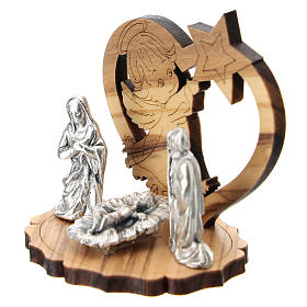 Nativity in metal with wood angel and star 5 cm s2