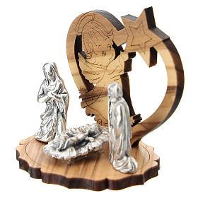 Natività metallo angelo e stella legno 5 cm s2