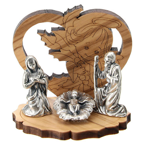 Nativity in metal with olive wood angel 5 cm 1