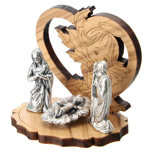 Metal Holy Family with olive wood angel 5 cm 2