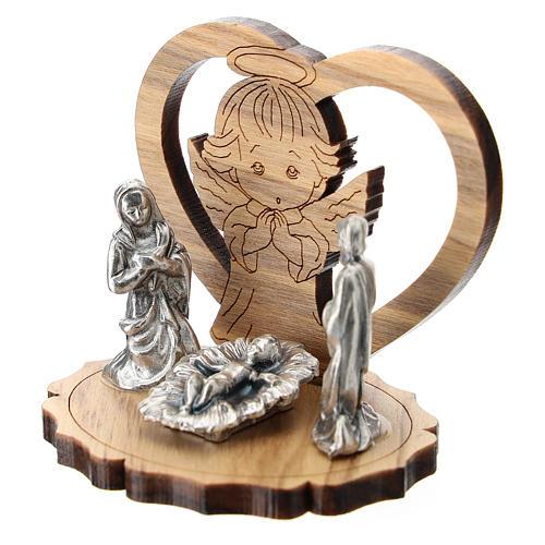 Angelito y corazón olivo con Natividad metal 5 cm 2