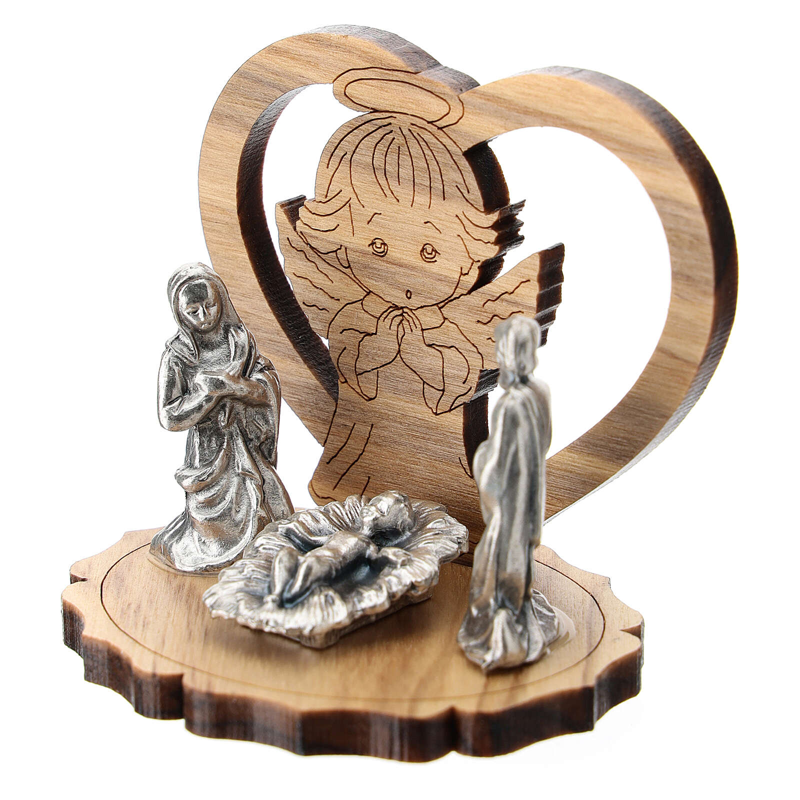 Angel and heart in olive wood with Nativity scene metal 5 cm 3