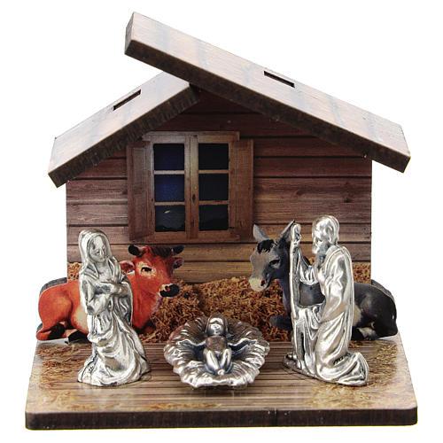 Natividad madera impresa y personajes metal 5 cm 1