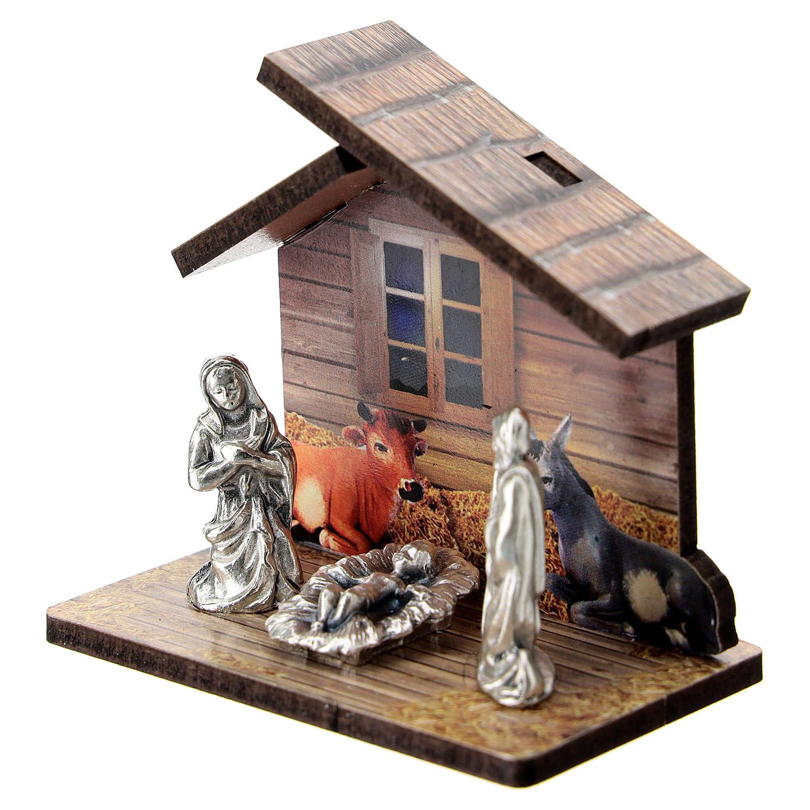 Natività legno stampato e personaggi metallo 5 cm 3