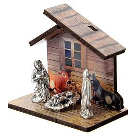 Natività legno stampato e personaggi metallo 5 cm s2