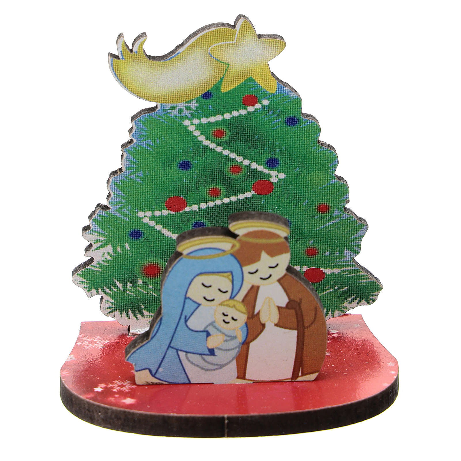 Nativity with Christmas tree, printed on wood 5 cm 3