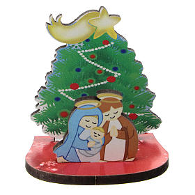Nativity with Christmas tree, printed on wood 5 cm s1