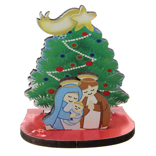 Nativity with Christmas tree, printed on wood 5 cm 1