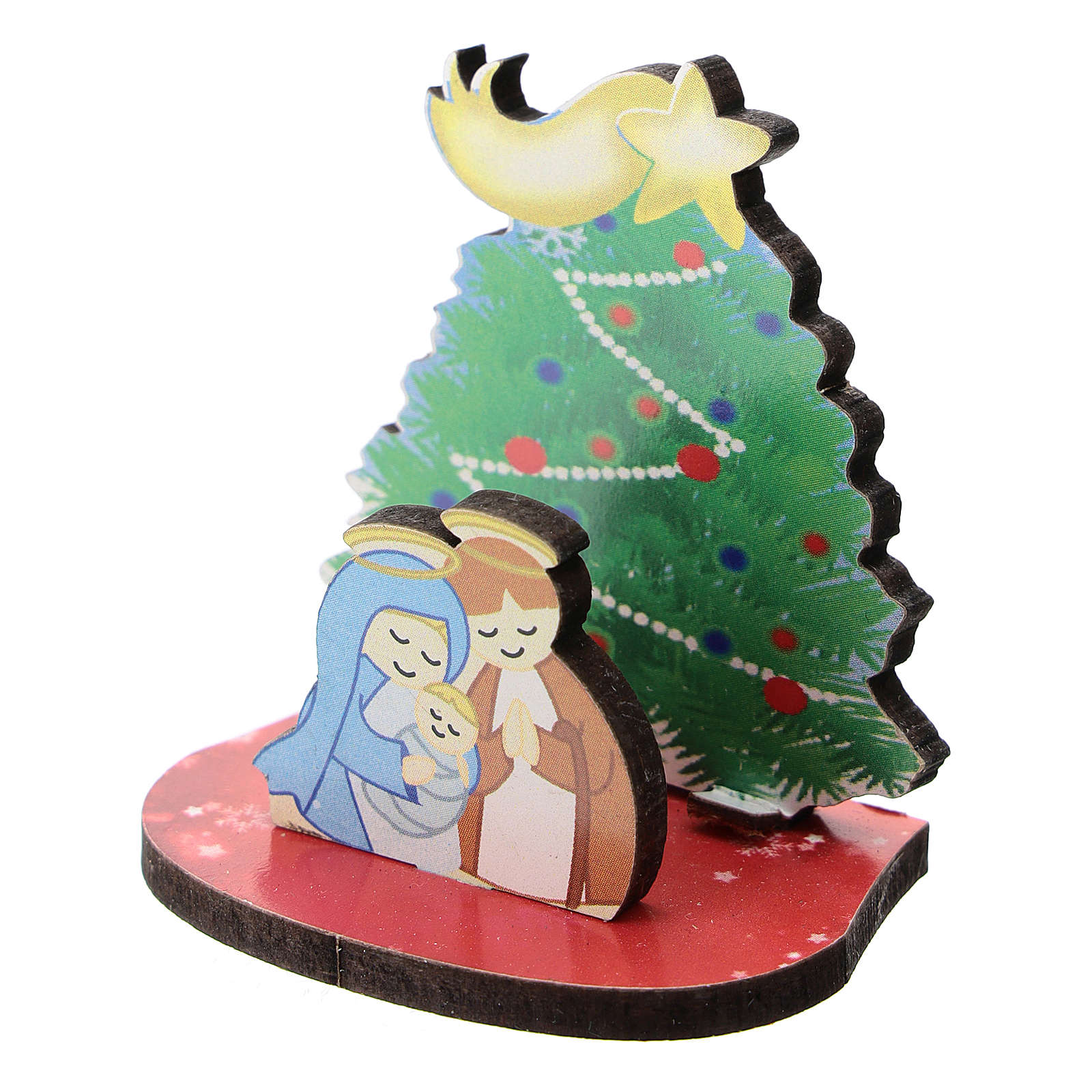 Natividad con árbol de Navidad madera impresa 5 cm 3