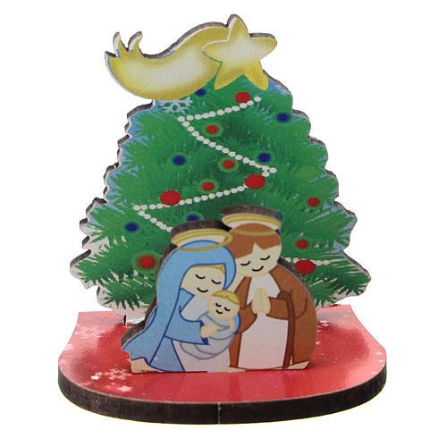 Nativité avec sapin de Noël bois imprimé 5 cm 1