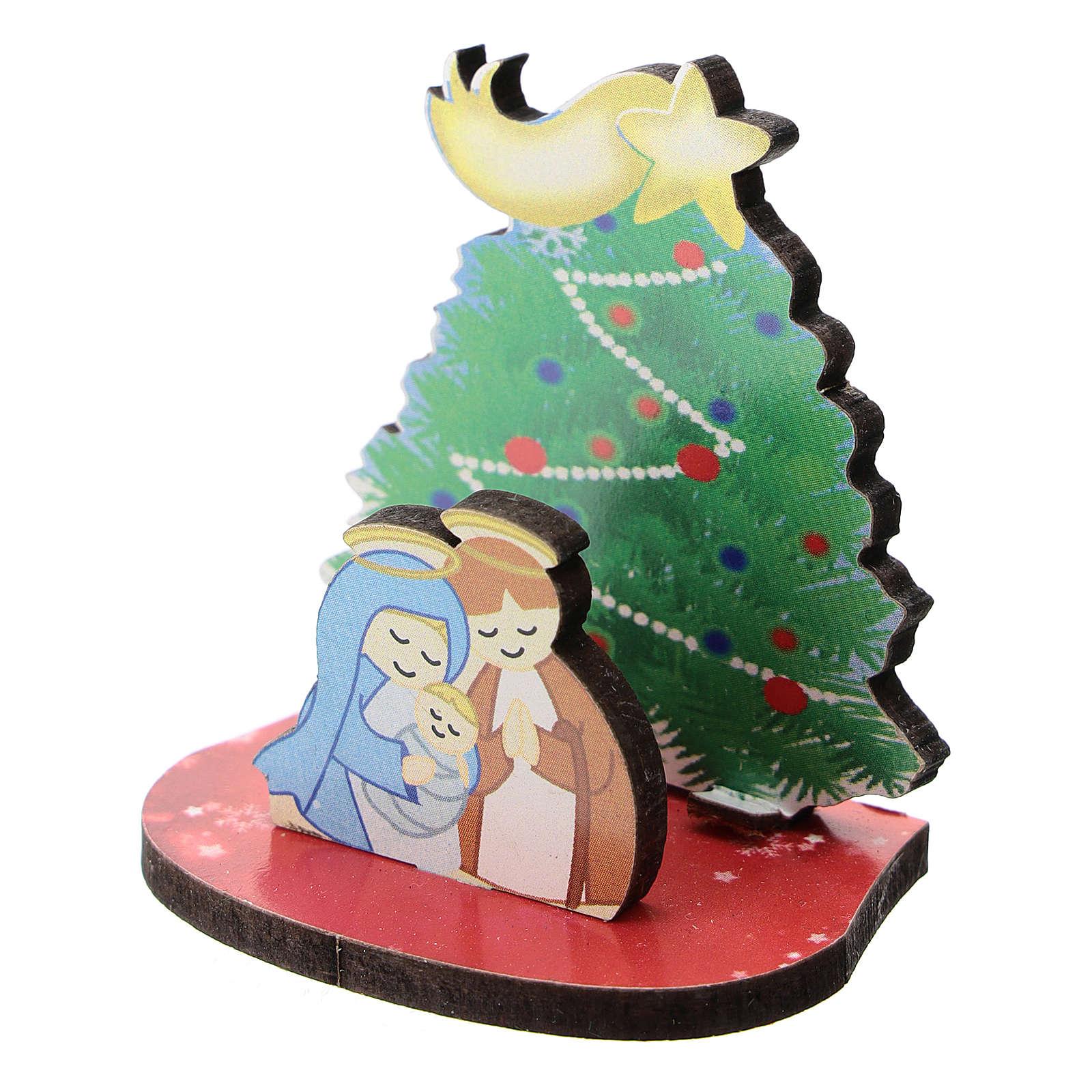 Natività con albero di Natale legno stampato 5 cm 3