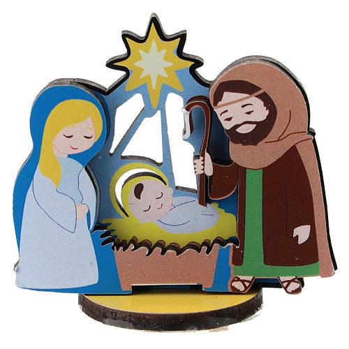 Nativity printed on wood 5 cm 1