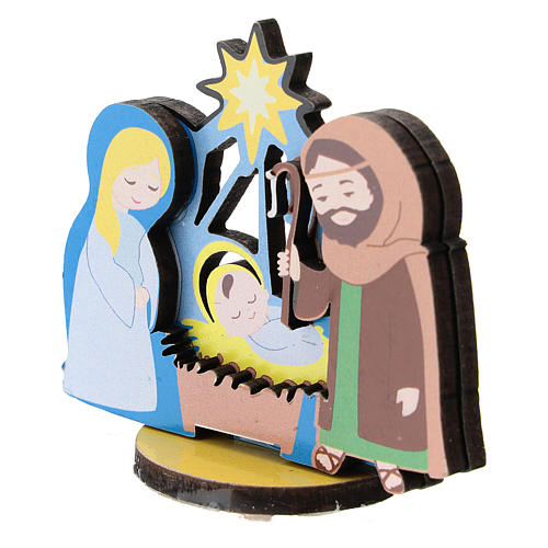 Nativity printed on wood 5 cm 2