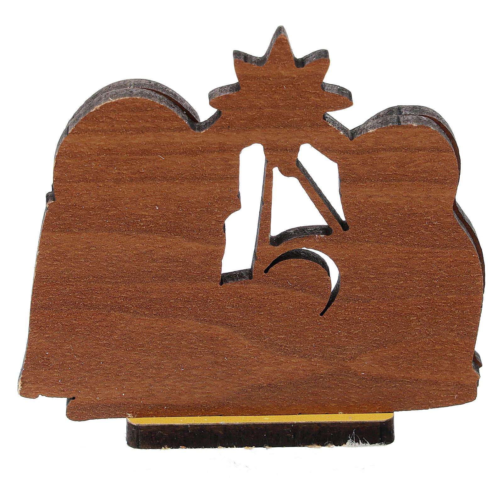 Nativité bois imprimé 5 cm 3