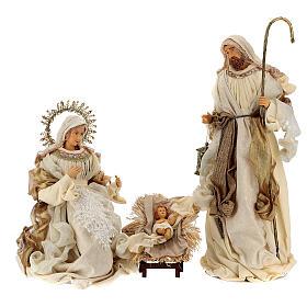 Natividade 3 peças bege e ouro resina tecido 80 cm s1