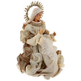 Natividade 3 peças bege e ouro resina tecido 80 cm s8