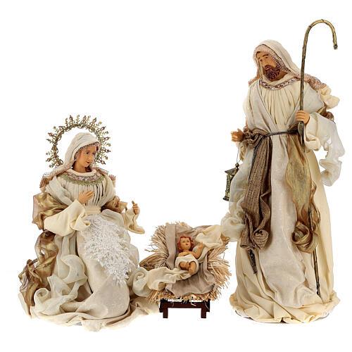 Natividade 3 peças bege e ouro resina tecido 80 cm 1
