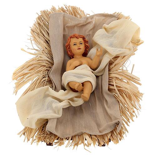 Natividade 3 peças bege e ouro resina tecido 80 cm 2
