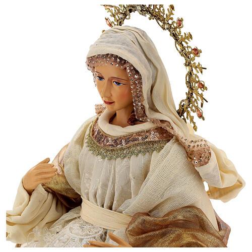 Natividade 3 peças bege e ouro resina tecido 80 cm 3
