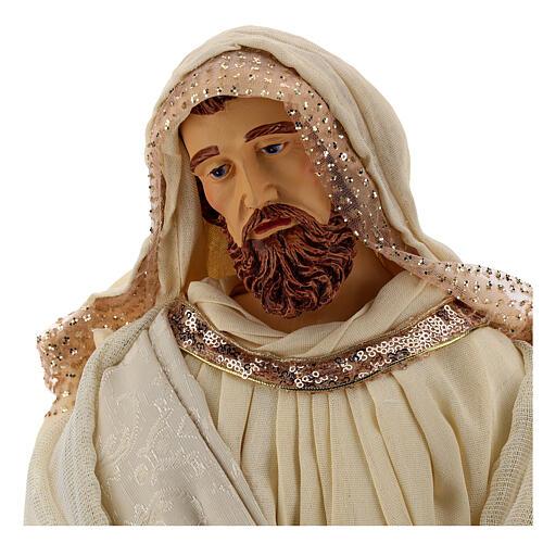 Natividade 3 peças bege e ouro resina tecido 80 cm 4