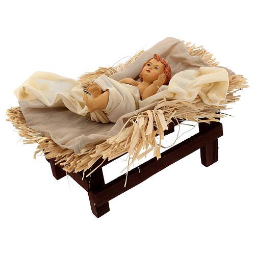 Natividade 3 peças bege e ouro resina tecido 80 cm 5
