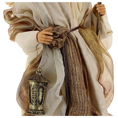 Natividade 3 peças bege e ouro resina tecido 80 cm 9