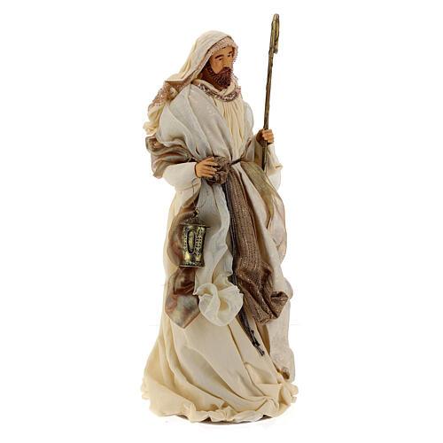 Natividade 3 peças bege e ouro resina tecido 80 cm 10
