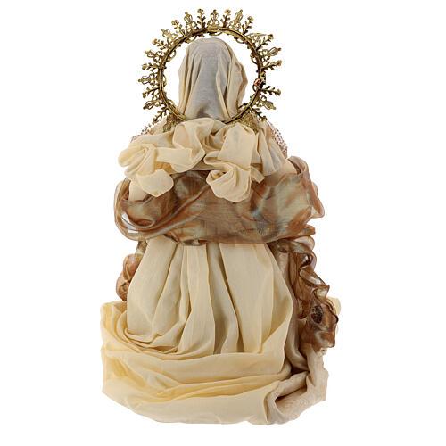 Natividade 3 peças bege e ouro resina tecido 80 cm 12