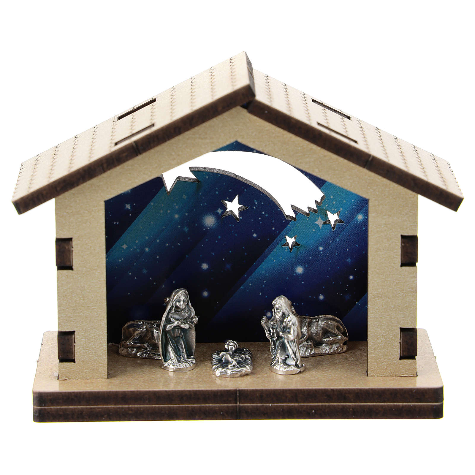Nativity in metal with wood shack and printed sky in the background 5 cm 3