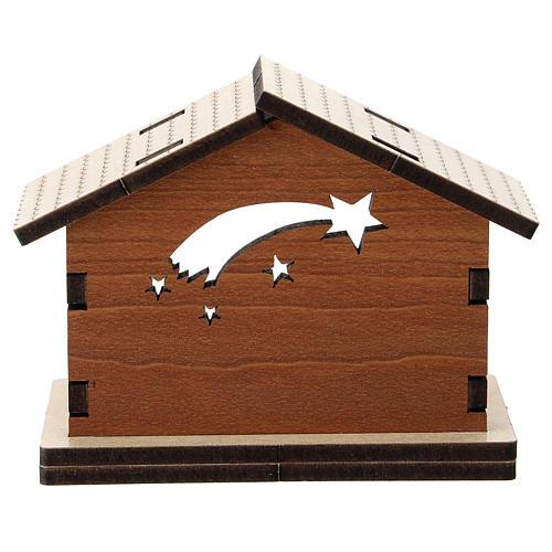 Cabaña madera fondo azul cometa personajes metal 5 cm 3