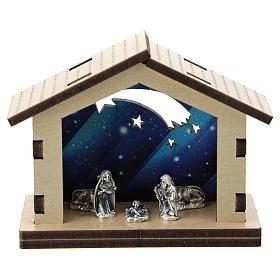 Cabane bois fond bleu comète santons métal 5 cm s1