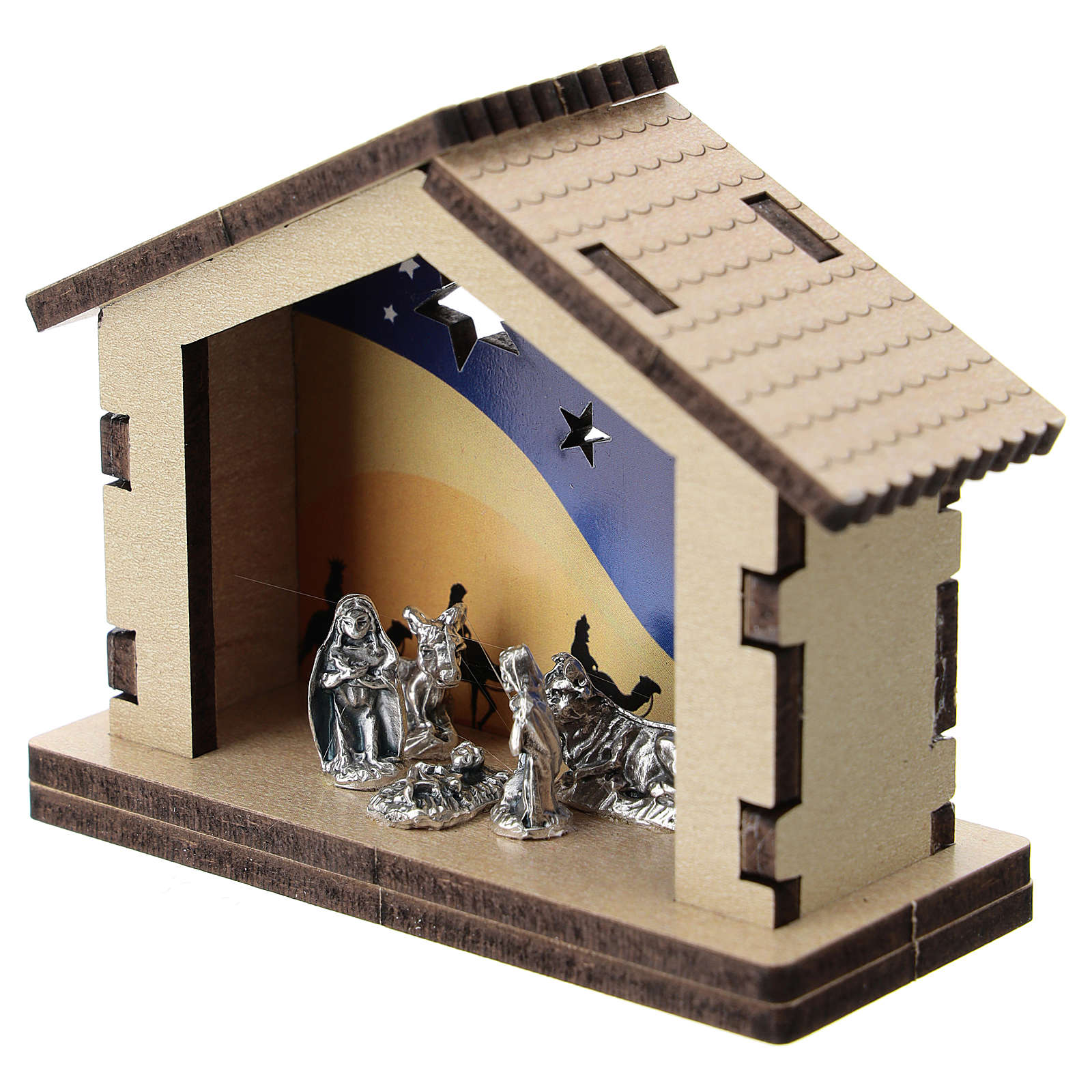 Nativity in metal with wood shack and printed desert in the background 5 cm 3