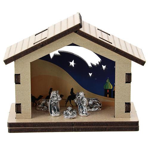 Cabaña madera fondo desierto nocturno Natividad metal 5 cm 1