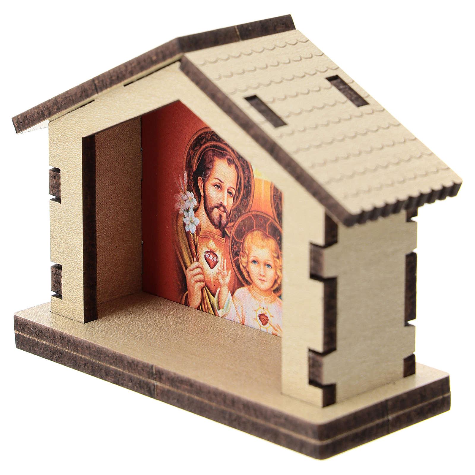 Capanna legno sfondo Sacra Famiglia 5 cm 3